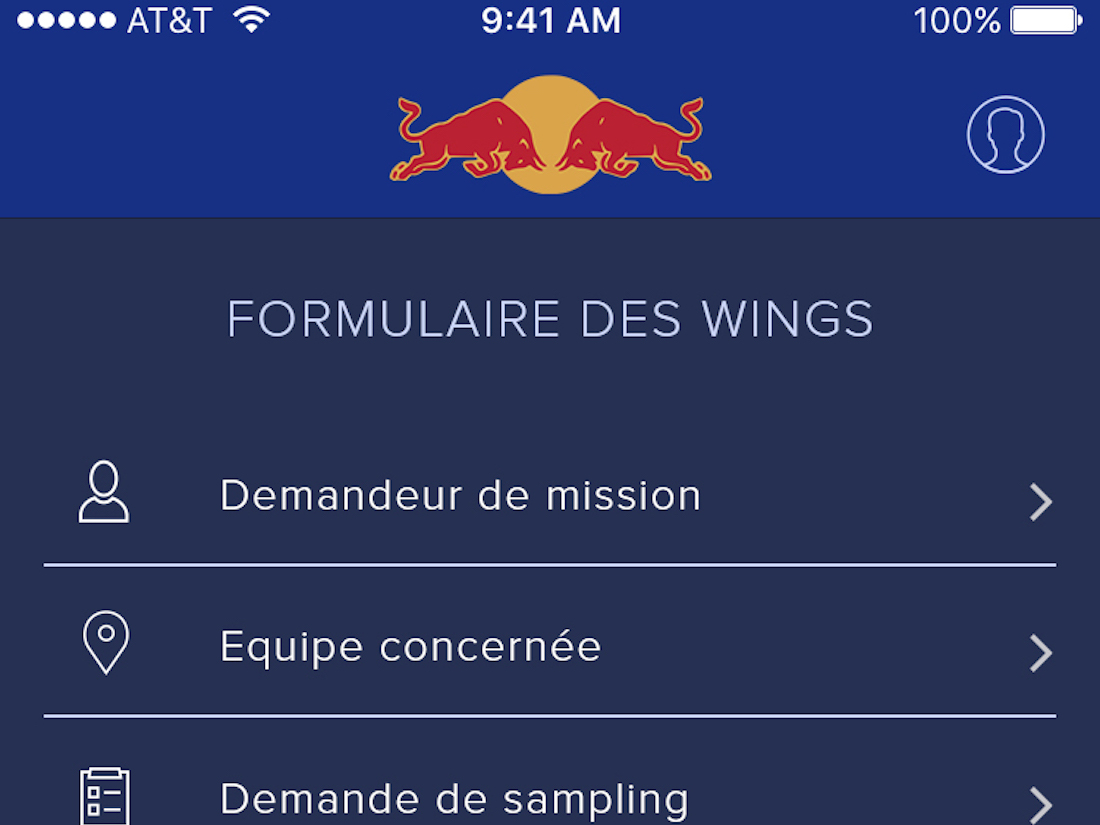 RED BULL 06 redbull-app-wings main screen Baccana Digital teaser