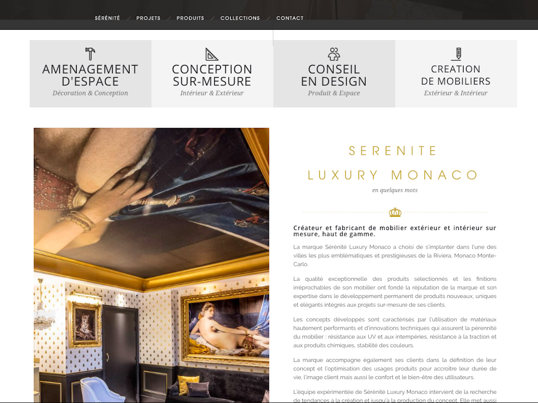 SERENITY LUXURY WORDPRESS CREATION MONACO BACCANA DIGITAL CONSULTING wp